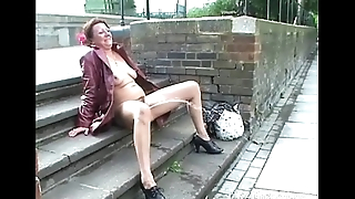 Mature stunt man masturbating in public and squirting on pavements