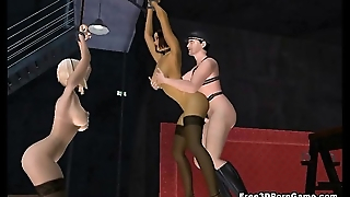 Two erotic tied up 3D babes getting fucked hard