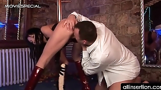 Brunette bitch sucks dick more a huge dildo in butt