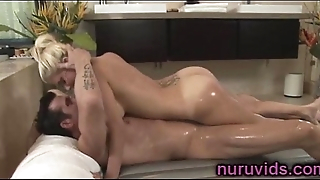 Gorgeous busty blonde givea a hot massage