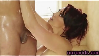 Amazing shower with gorgeous brunette Nikki Hunter
