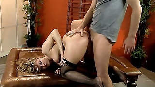 Deceptive tow-headed fucked in fishnet thigh highs