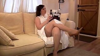 Busty mature attractive English lass strips