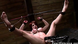 Big tits redhead Velma DeArmond in bdsm with gag ball in mouth apropos fucked