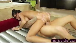 Beautiful brunette masseuse fucked hard
