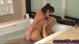 Sweet busty asian babe shower play